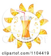 Clipart Circle Of Orange Slices Around Juice Royalty Free Vector Illustration by merlinul