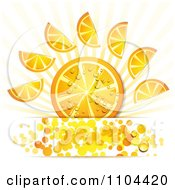 Clipart Orange Slices With Droplets Rays And Circles 2 Royalty Free Vector Illustration