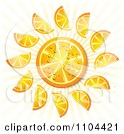 Clipart Orange Slices With Droplets Rays And Circles 3 Royalty Free Vector Illustration