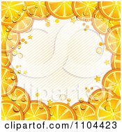 Clipart Frame Of Orange Slices With Droplets Diagonal Lines And Stars Royalty Free Vector Illustration