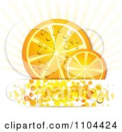 Clipart Orange Slices With Droplets Rays And Circles 1 Royalty Free Vector Illustration