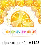 Clipart Orange Slices With Droplets And Text Royalty Free Vector Illustration