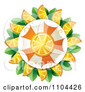 Clipart Orange Slice And Umbrella Circled By Wedges And Leaves Royalty Free Vector Illustration