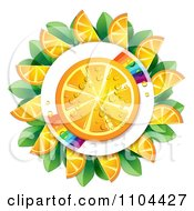Clipart Juicy Orange Slice And Rainbow Circled By Wedges And Leaves Royalty Free Vector Illustration