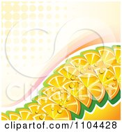 Clipart Wave Of Juicy Orange Slices With Swooshes And Halftone Royalty Free Vector Illustration