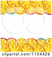 Clipart Frame Of Orange Slices With Droplets And Colorful Arches On White Royalty Free Vector Illustration