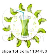 Clipart Kiwi Slices In A Circle Around Juice Royalty Free Vector Illustration by merlinul