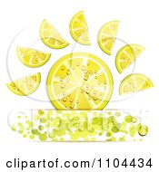 Clipart Juicy Lemon Slices And Green Dots Over Copyspace Royalty Free Vector Illustration