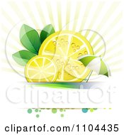 Clipart Juicy Lemon Slices And Leaves With An Umbrella Over Copyspace Royalty Free Vector Illustration