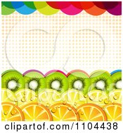 Clipart Border Of Kiwi Lemon And Orange Slices With Halftone And Colorful Dots Royalty Free Vector Illustration