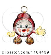 Clipart Happy Red Alarm Clock Royalty Free Vector Illustration