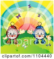 Clipart Happy Aplarm Clocks With A Rainbow And Butterflies Royalty Free Vector Illustration
