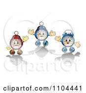 Clipart Three Happy Alarm Clocks And Shadows 1 Royalty Free Vector Illustration