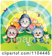 Clipart Happy Aplarm Clocks Forming A Pyramid With A Rainbow And Butterflies Royalty Free Vector Illustration