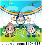 Clipart Happy Aplarm Clocks With Butterflies And A Rainbow Royalty Free Vector Illustration