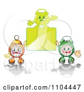 Clipart Alarm Clocks Holding A Sign Royalty Free Vector Illustration