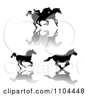 Clipart Silhouetted Running Horses And Shadows Royalty Free Vector Illustration by merlinul