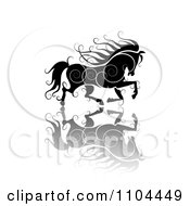 Clipart Black Ornate Swirl Horse Running With A Shadow 1 Royalty Free Vector Illustration by merlinul