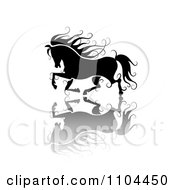 Clipart Black Ornate Swirl Horse Running With A Shadow 2 Royalty Free Vector Illustration by merlinul
