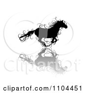 Clipart Black Ornate Swirl Horse Running With A Shadow 3 Royalty Free Vector Illustration