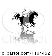 Clipart Black Ornate Swirl Horse Running With A Shadow 4 Royalty Free Vector Illustration by merlinul
