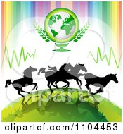 Clipart Silhouetted Wild Horses Running Under Earth With Rainbow Stripes Royalty Free Vector Illustration by merlinul