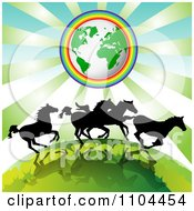 Clipart Silhouetted Wild Horses Running Under Earth Encircled In A Rainbow Royalty Free Vector Illustration