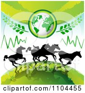 Clipart Silhouetted Wild Horses Running Under Earth With Leaves Royalty Free Vector Illustration by merlinul