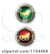 Clipart Ornate Running Gold Horses On Bottle Caps Royalty Free Vector Illustration by merlinul