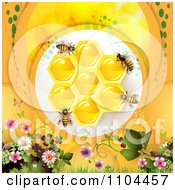 Clipart Bees On Honeycombs Over Orange With Flowers Royalty Free Vector Illustration