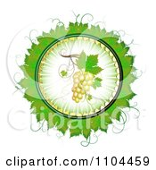 Clipart Circle Of White Grapes And Grene Leaves 2 Royalty Free Vector Illustration by merlinul