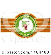 Clipart Leaf Circle With Red Grapes And A Ribbon Of Gold And Orange Royalty Free Vector Illustration