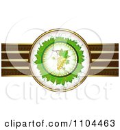 Clipart Leaf Circle With White Grapes And A Ribbon Of Gold And Brown Royalty Free Vector Illustration