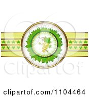 Clipart Leaf Circle With White Grapes And A Ribbon Of Gold And Leaves Royalty Free Vector Illustration