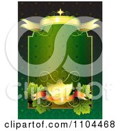 Clipart Green And Gold Frame With Banners And Leaves Royalty Free Vector Illustration by merlinul