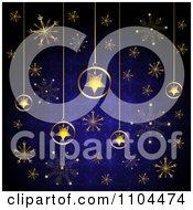 Clipart Christmas Background Of Gold Star Ornaments And Snowflakes On Blue 1 Royalty Free Vector Illustration by merlinul