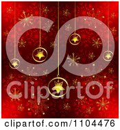 Clipart Christmas Background Of Gold Star Ornaments And Snowflakes On Red 2 Royalty Free Vector Illustration by merlinul