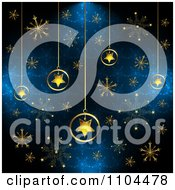 Clipart Christmas Background Of Gold Star Ornaments And Snowflakes On Blue 2 Royalty Free Vector Illustration by merlinul