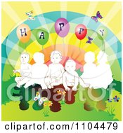 Clipart Children With A Rainbow Butterflies Flowers Sunshine And Happy Balloons Royalty Free Vector Illustration