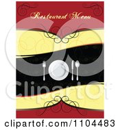 Clipart Restaurant Dining Menu Template With Silverware And A Plate 1 Royalty Free Vector Illustration