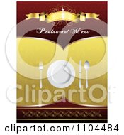 Clipart Restaurant Dining Menu Template With Silverware And A Plate 4 Royalty Free Vector Illustration