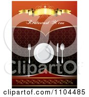 Clipart Restaurant Dining Menu Template With Silverware And A Plate 5 Royalty Free Vector Illustration