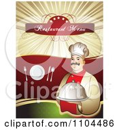 Clipart Restaurant Dining Menu Template With A Chef Silverware And A Plate 1 Royalty Free Vector Illustration