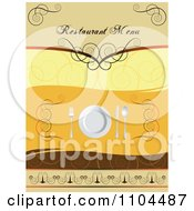 Clipart Restaurant Dining Menu Template With Silverware And A Plate 2 Royalty Free Vector Illustration