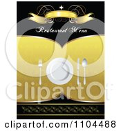 Clipart Restaurant Dining Menu Template With Silverware And A Plate 3 Royalty Free Vector Illustration