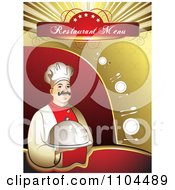 Clipart Restaurant Dining Menu Template With A Chef Silverware And Plates Royalty Free Vector Illustration