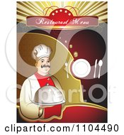 Clipart Restaurant Dining Menu Template With A Chef Silverware And A Plate 2 Royalty Free Vector Illustration