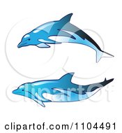 Clipart Blue Dolphins Royalty Free Vector Illustration by merlinul
