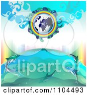 Clipart Globe With A Rainbow And Dolphins 4 Royalty Free Vector Illustration by merlinul