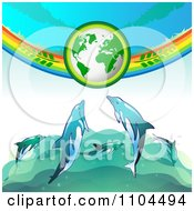 Clipart Green Globe With Branches A Rainbow And Dolphins Royalty Free Vector Illustration by merlinul
